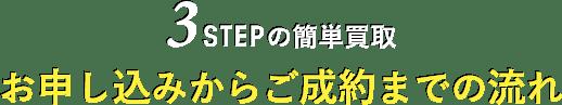 3STEPの簡単買取 お申し込みからご成約までの流れ