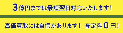 3億円までは最短翌日対応いたします!  高価買取には自信があります! 査定料0円!